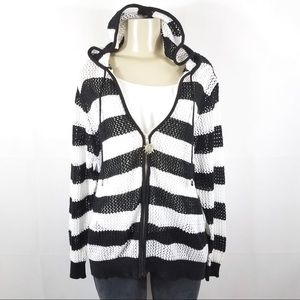 QUACKER FACTORY Black White Hoodie Jacket Plus 1X